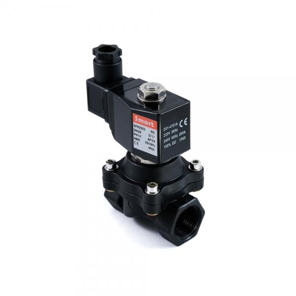 Клапан электромагнитный пластиковый нормально-закрытый SMART SF6252 (AC220V, AC110V, AC24V, DC12V, DC24V)