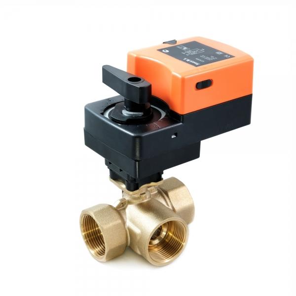 Треххходовой шаровый кран с электроприводом (сервоприводом) и ручным управлением SMART QT5304/5306 (AC220V,AC24V,DC24V)