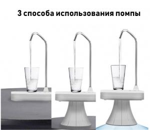 Электрическая помпа для воды под бутылки 19л JAV-T3 (белая)_3
