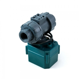 Двухходовой шаровый пластиковый ПВХ (PVC-U) кран с электроприводом ON/OFF(сервоприводом) CTR-03 (AC/DC9-24V, АС220V), 3-х проводной_2