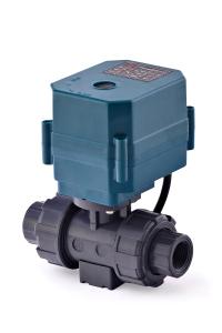 Двухходовой шаровый пластиковый ПВХ (PVC-U) кран с электроприводом ON/OFF(сервоприводом) CTR-03 (AC/DC9-24V, АС220V), 3-х проводной_0