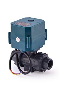 Двухходовой шаровый пластиковый ПВХ (PVC-U) нормально закрытый кран с электроприводом ON/OFF(сервоприводом) CTR-04 (AC/DC9-24V, АС220V),с функцией самовозврата, 2-х проводной_2