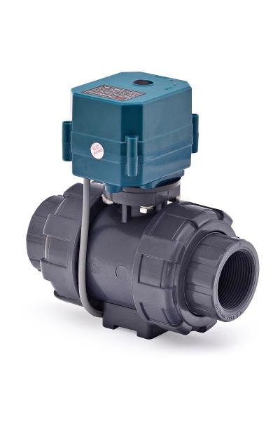 Двухходовой шаровый пластиковый ПВХ (PVC-U) нормально закрытый кран с электроприводом ON/OFF(сервоприводом) CTR-04 (AC/DC9-24V, АС220V),с функцией самовозврата, 2-х проводной