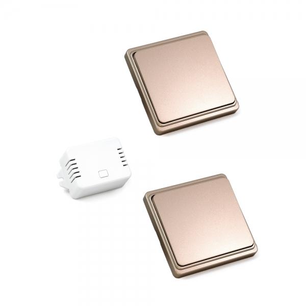Проходной беспроводной кинетический выключатель света ArmaControl AS-6M (2 клавишы и блок управления)