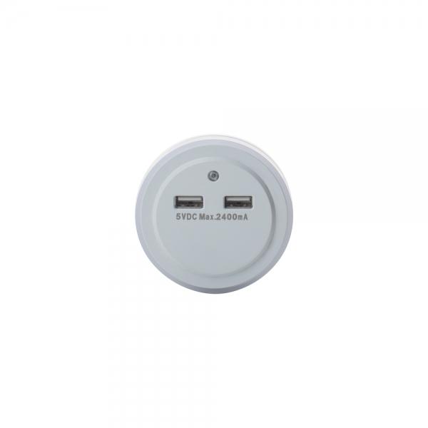 Розетка - USB хаб на 2 выхода TD-05 с датчиком света