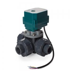 Трехходовой шаровый пластиковый ПВХ (PVC-U) кран с электроприводом ON/OFF(сервоприводом) CTR-03 (AC/DC9-24V, АС220V), 3-х проводной_0