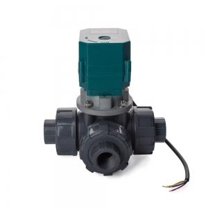 Трехходовой шаровый пластиковый ПВХ (PVC-U) кран с электроприводом ON/OFF(сервоприводом) CTR-03 (AC/DC9-24V, АС220V), 3-х проводной_1