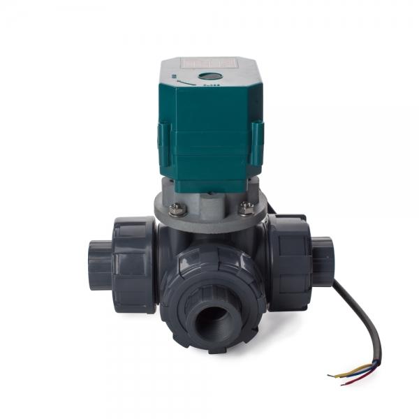 Трехходовой шаровый пластиковый ПВХ (PVC-U) кран с электроприводом ON/OFF(сервоприводом) CTR-03 (AC/DC9-24V, АС220V), 3-х проводной