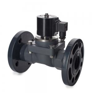Клапан электромагнитный пластиковый нормально-закрытый из ХПВХ (PVC-U), фланцевый (AC220V, DC24V)_0