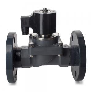 Клапан электромагнитный пластиковый нормально-закрытый из ХПВХ (PVC-U), фланцевый (AC220V, DC24V)_2