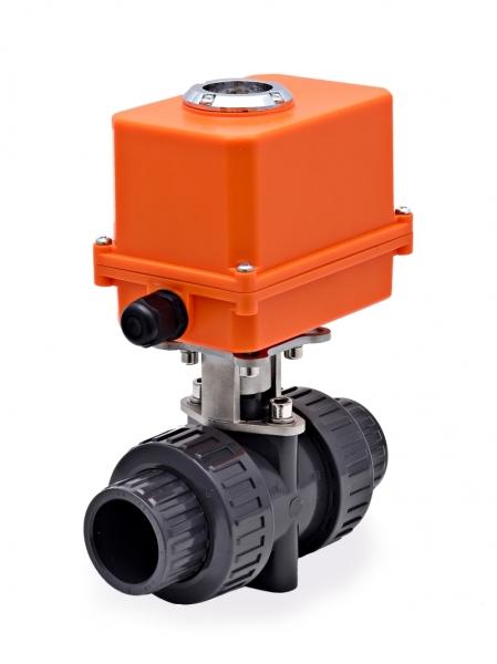 Двухходовой шаровый пластиковый ПВХ (PVC-U) кран с электроприводом CTR-05 (DC24V, АС220V), для агрессивных сред, под вклейку