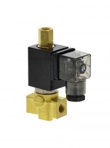 Клапан трехходовой электромагнитный латунный нормально-закрытый SLP-03 (AC220V, DC24V)_0