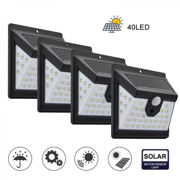 Светодиодный уличный светильник с датчиком движения на солнечной батарее НайтЛайт-3, 40 светодиодов
