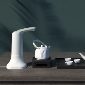Электрическая помпа для воды под бутылки 19л JAV-J2, с подставкой в комплекте, белая_2
