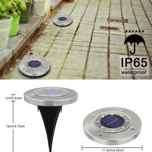 Светодиодный напольный уличный светильник с датчиком света на солнечной батарее с RGB подсветкой НайтЛайт-7, серебристый_1