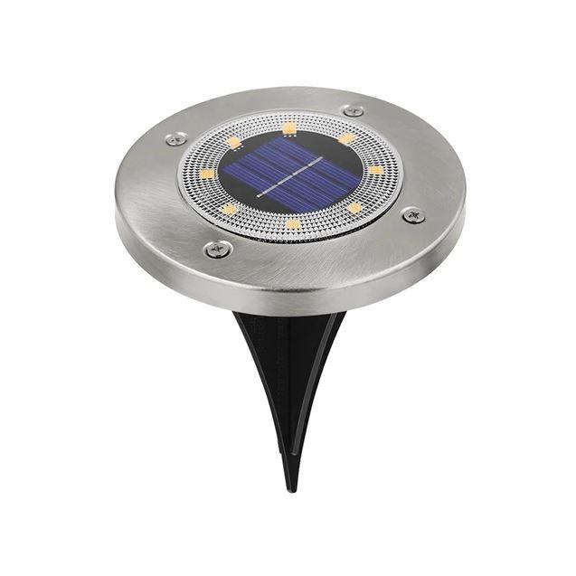 Светодиодный напольный уличный светильник с датчиком света на солнечной батарее с RGB подсветкой НайтЛайт-7, серебристый
