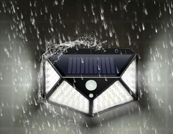 Светодиодный уличный светильник с датчиком движения на солнечной батарее НайтЛайт-3, 100 светодиодов