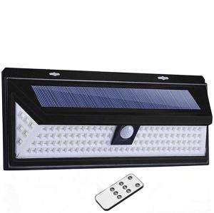 Светодиодный настенный светильник с датчиком движения на солнечной батарее НайтЛайт-9, 118 светодиодов, с пультом управления_0