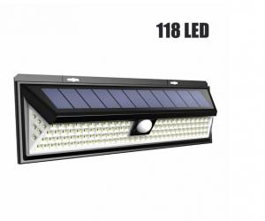 Светодиодный настенный светильник с датчиком движения на солнечной батарее НайтЛайт-9, 118 светодиодов, с пультом управления_1