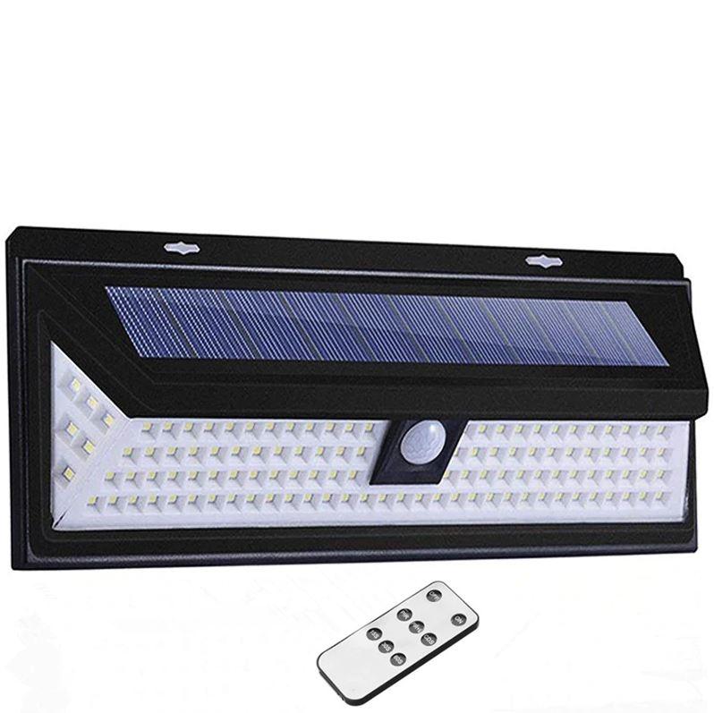 Светодиодный настенный светильник с датчиком движения на солнечной батарее НайтЛайт-9, 118 светодиодов, с пультом управления