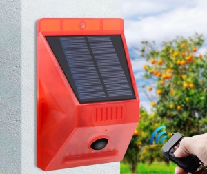 Световая звуковая сигнализация на солнечной батарее, с датчиком движения Warning Light RV-02, с пультом управления_2