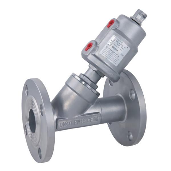 Седельный наклонный клапан с пневмоуправлением PNVF одностороннего действия фланцевый AISI304